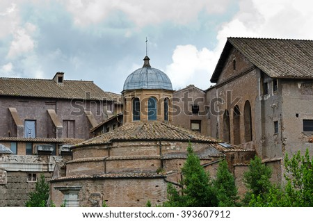 The temple of Romulus is an ancient Roman temple in Rome - stock photo