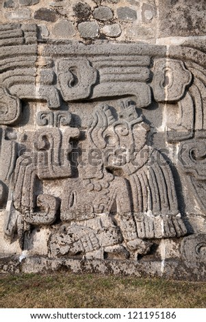 The Temple of the Feathered Serpent in Xochicalco has fine stylized depictions of that deity in a style which includes apparent influences of Teotihuacan and Maya art - stock photo