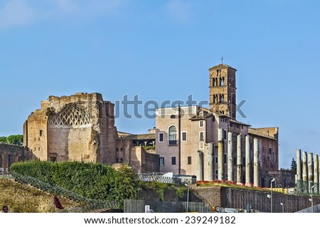 The Temple of Venus and Roma is thought to have been the largest temple in Ancient Rome.  - stock photo
