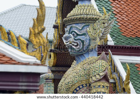 the temple of Wat Phra Kaew in Banglamphu in the city of Bangkok in Thailand.