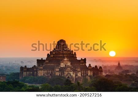 The  Temples of , Bagan at sunrise, Mandalay, Myanmar - stock photo