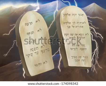 The Ten Commandments. The Ten Commandments, also known as the Decalogue, are a set of biblical principles relating to ethics and worship, which play a fundamental role in Judaism and Christianity.  - stock photo
