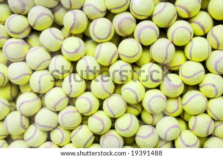 The tennis ball pile background.