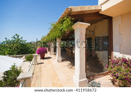 The terrace of the Spanish home nearby the Mediterranean Sea, Mallorca - stock photo
