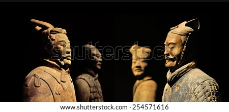 The Terracotta Army of Xian in China, 2014 December 12 (focus on foreground, background blurred) - stock photo