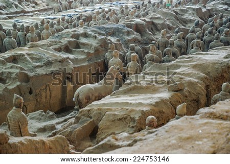 "The Terracotta Army or the ""Terra Cotta Warriors and Horses"" buried in the pits next to the Qin Shi Huang's tomb in 210-209 BC.August 7, 2014 in Xian of Shaanxi Province, China. - stock photo"
