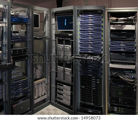 The test laboratory of big research telecommucations center - stock photo