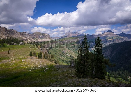 The Teton Range as we backpack our way through the Death Canyon Shelf Trail in Wyoming - stock photo