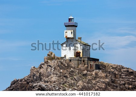 "The ""Tevennec"" Lighthouse in Brittany open sea at Raz point, France"