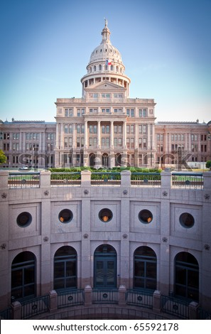 The Texas State Capitol Building in downtown Austin, Texas.  Austin is the capital city of Texas. - stock photo