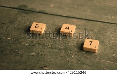 the text eating  - stock photo