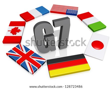 The text G8 encircled by the member flags. - stock photo