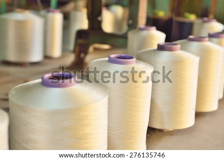 The textile industry factory, manufacture of rope - stock photo