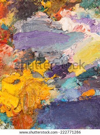 the texture color palette with mixed paints - stock photo