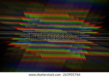 The texture of light glare, which is a diffraction pattern of light LED lamp obtained with a diffraction grating - stock photo