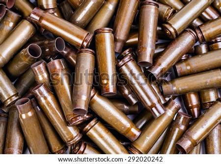 the texture of the metal casings of spent Kalashnikov - stock photo