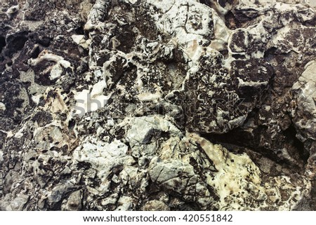 The texture of the rock breaking closeup - stock photo