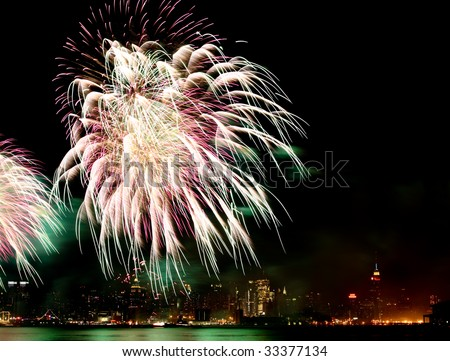 The 4th of July fireworks over the Hudson River - stock photo