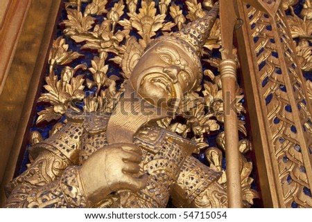 The thai giant door, in the grand palace, Bangkok, Thailand