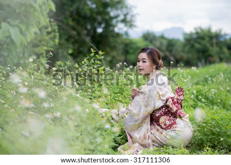 the thai girl wearing kimono