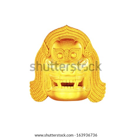 The Thai statue golden lion head  on white background