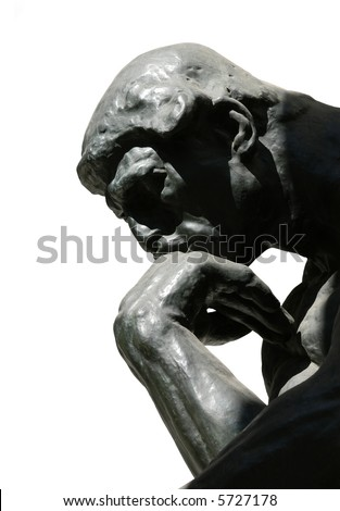 The Thinker, famous statue by Auguste Rodin, isolated on white - stock photo