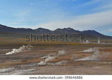 The third biggest and highest geyser field in the world: El Tatio in Northern Chile.  - stock photo