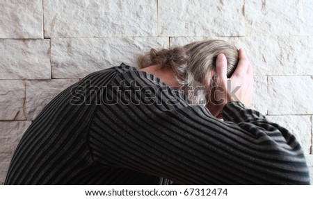 The thoughtful man anxious by problems. - stock photo