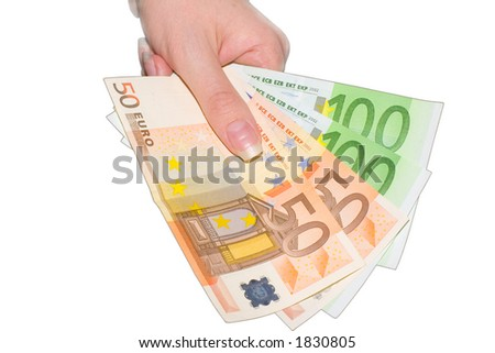 The three hundred euro in hand - stock photo