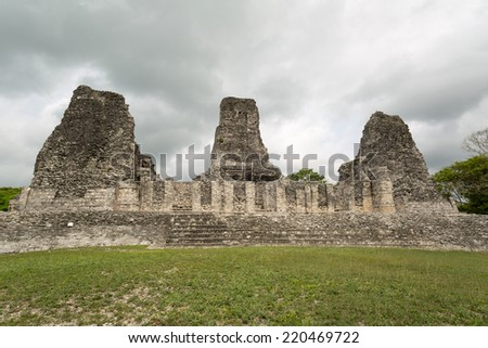 the three Rio Bec style tower ruins of the archaeological site of Xpujil in the state of Campeche,Mexico - stock photo