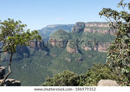 the three rondavels on the panaorama route  in south africa near hoedspruit with big canyon and great view on landscape - stock photo
