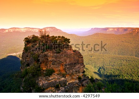 The Three Sisters are famous rock formation in the Blue Mountains of New South Wales, Australia