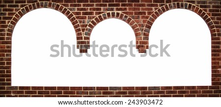 The three-spatial arch with space for text frame in brick wall background - stock photo