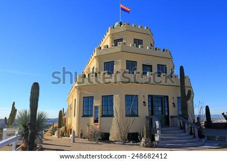The three-tiered wedding cake design makes the Tovrea Castle a unique Phoenix landmark. - stock photo