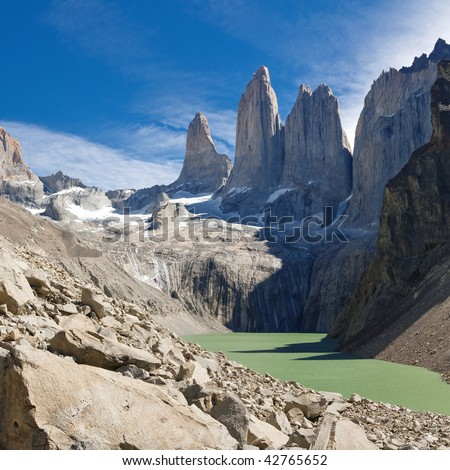 The Three Towers at Torres del Paine National Park, Patagonia, Chile. View from Mirador de Las Torres.