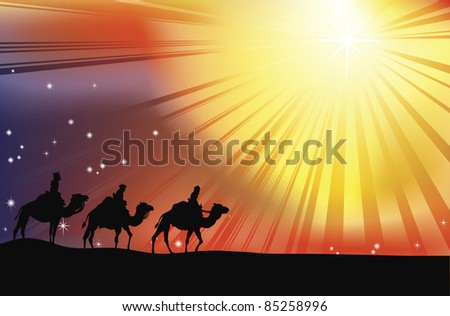 The three wise men crossing the desert following the star of Bethlehem in Christmas Nativity scene