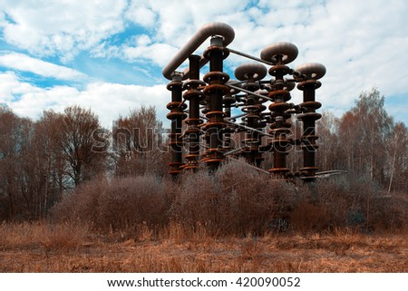 The thrown rusty electrical unit of Nikola Tesla for experiments in Russia - stock photo
