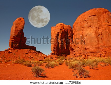 The Thumb Formation in Monument Valley, Navajo Nation, Arizona USA - stock photo
