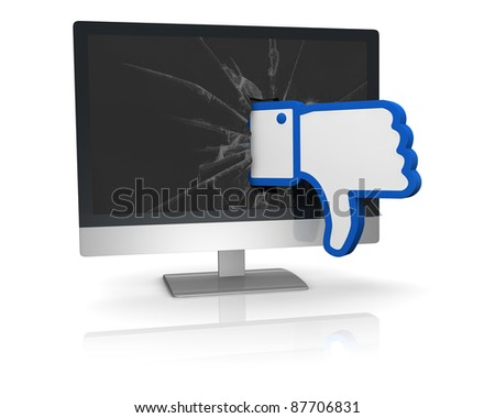 the thumbs down symbol of social networks that goes out from a computer screen (3d render) - stock photo