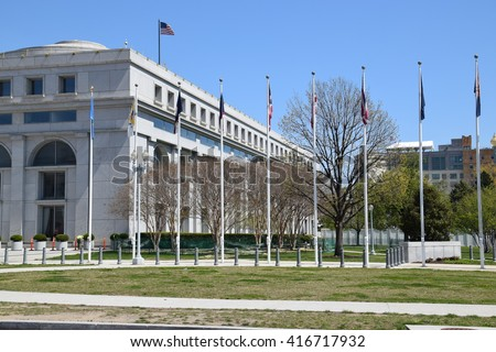 The Thurgood Marshall Federal Judiciary Building in Washington, DC. - stock photo