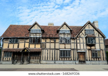 The timbered house in Stratford-upon-Avon which is believed to be the birthplace of William Shakespeare.
