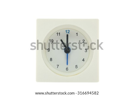 The time is now 11.00 AM,work time, meeting time, isolated white background with path - stock photo