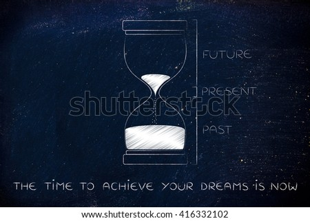 the time to achieve your dreams is now: hourglass with past, present and future captions, concept of time management and living life to the fullest - stock photo