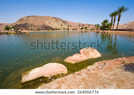 The Timna lake at Timna Park in the southern negev desert in Israel - stock photo