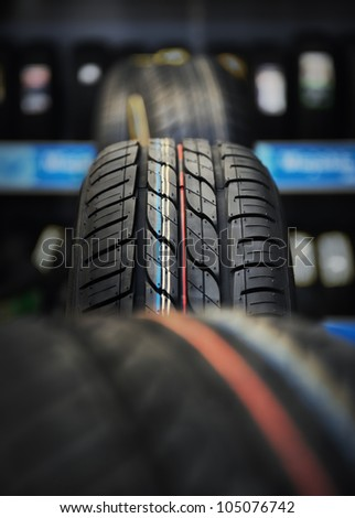The tire tread in workshop. - stock photo