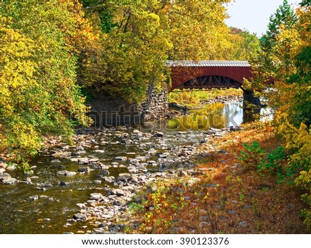 The Tohickon Creek Aqueduct foot bridge in Delaware Canal State Park located in Bucks County Pennsylvania. - stock photo