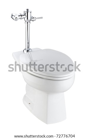 The toilet and urinate bowl isolated on white - stock photo