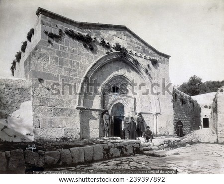 The tomb of Virgin Mary and the cave of the agony, Jerusalem, Israel, circa late 1800s.