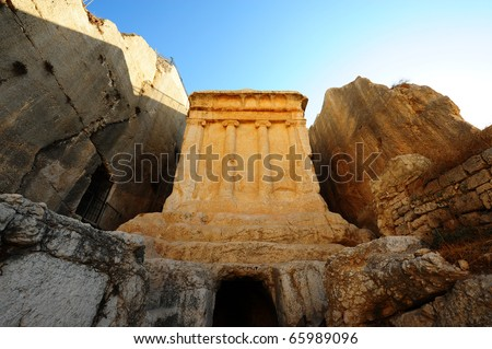 The Tomb Of Zechariah Is an Ancient Stone Monument in Jerusalem - stock photo