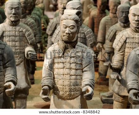 The Tomb Warrior Statues of the Chinese Qin Dynasty protect their emperors. - stock photo